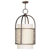 Livex Lighting 2-Light Palacial Bronze Pendant with Silk Champagne Hardback Shade and Gilded Accents (8677-64)
