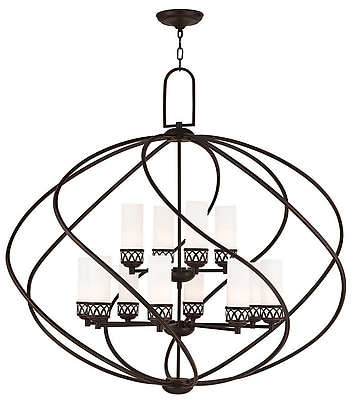 Livex Lighting 12-Light Olde Bronze Chandelier with Hand Blown Satin Opal White Glass Shade (47199-67)