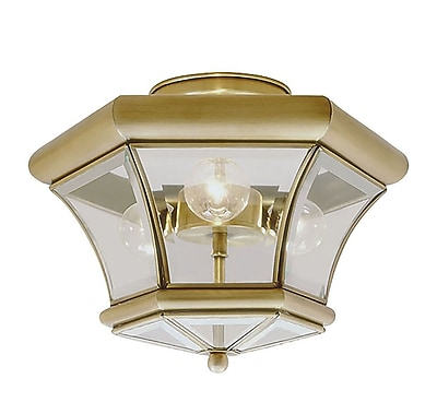 Livex Lighting 3-Light Antique Brass Semi-Flush Mount (4083-01)