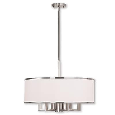 Livex Lighting 6-Light Brushed Nickel Chandelier with Hand Crafted Off-White Fabric Hardback Shade (62616-91)