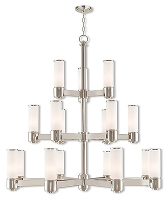 Livex Lighting 17-Light Polished Nickel Foyer Chandelier with Hand Blown Satin Opal White Glass Shade (52119-35)