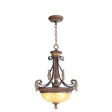 Livex Lighting 3-Light Verona Bronze with Aged Gold Leaf Accents Pendant (8567-63)
