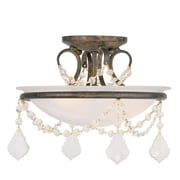 Livex Lighting 2-Light Hand Applied Venetian Golden Bronze Mount with White Alabaster Glass (6523-71)