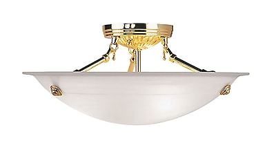 Livex Lighting 3-Light Polished Brass Semi-Flush Mount (4273-02)