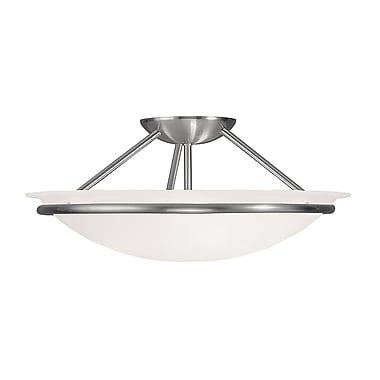 Livex Lighting 3-Light Brushed Nickel Mount with White Alabaster Glass (4824-91)