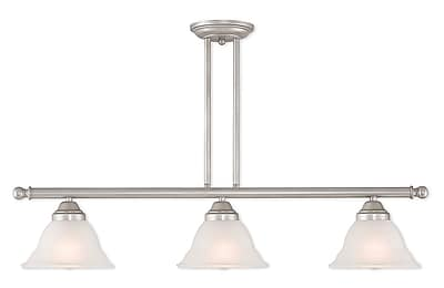 Livex Lighting 3-Light Hand Applied Brushed Silver Linear Chandelier with Hand Applied Gray Marble Glass Shade (40726-34)