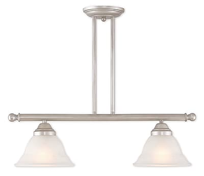 Livex Lighting 2-Light Hand Applied Brushed Silver Linear Chandelier with Hand Applied Gray Marble Glass (40722-34)