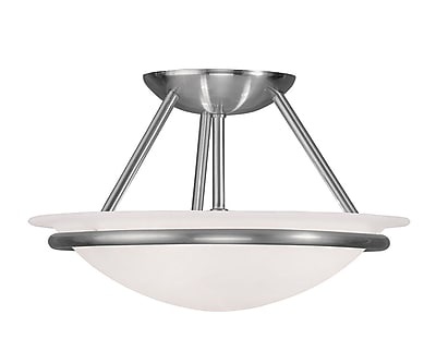 Livex Lighting 2-Light Brushed Nickel Mount with White Alabaster Glass (4823-91)