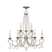 Livex Lighting 9-Light Hand Painted Antique Silver Leaf Chandelier (6519-73)