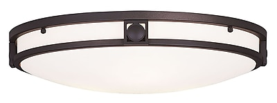Livex Lighting 3-Light Bronze Flush Mount with Satin White Glass (4488-07)