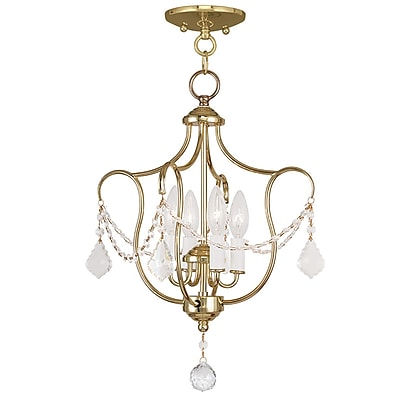 Livex Lighting 4-Light Polished Brass Semi-Flush Mount Light Convertible Pendant (6434-02)