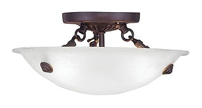 Livex Lighting 3-Light Bronze Flush Mount with White Alabaster Glass Shade (4272-07)