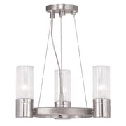 Livex Lighting 3-Light Brushed Nickel Mini Chandelier with Hand Crafted Clear Fluted Glass Shade (50693-91)