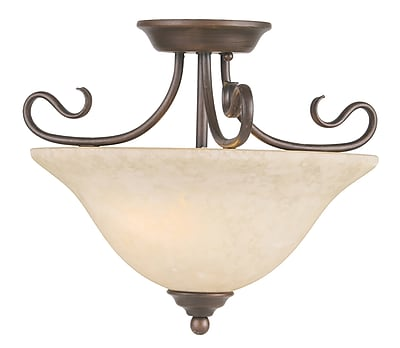 Livex Lighting 2-Light Bronze Flush Mount with Vintage Scavo Glass (6121-58)