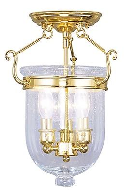 Livex Lighting 3-Light Polished Brass Semi-Flush Mount (5081-02)