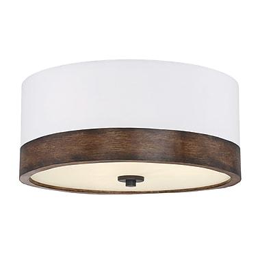 Filament Design 3-Light Walnut Wood Flush Mount with White Fabric Shade (STL-SVS474882)