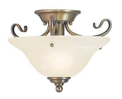 Livex Lighting 1-Light Antique Brass Flush Mount (6109-01)