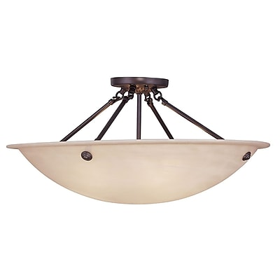 Livex Lighting 4-Light Bronze Flush Mount with Honey Alabaster Glass Shade (5627-07)