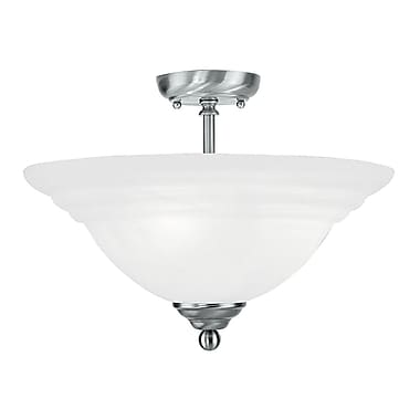 Livex Lighting 3-Light Brushed Nickel Flush Mount with White Alabaster Glass (4258-91)