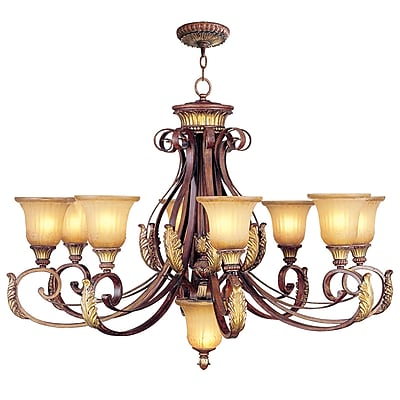Livex Lighting 8-Light Verona Bronze with Aged Gold Leaf Accents Chandelier (8586-63)
