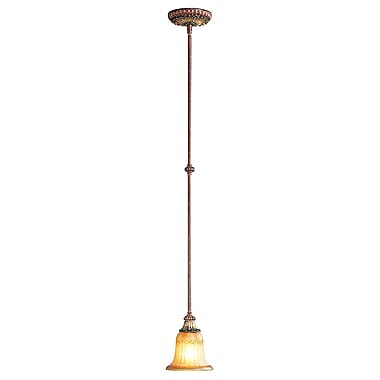 Livex Lighting 1-Light Verona Bronze with Aged Gold Leaf Accents Mini Pendant (8570-63)
