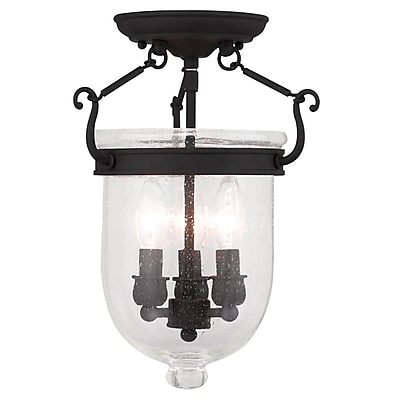 Livex Lighting 3-Light Black Semi-Flush Mount (5081-04)