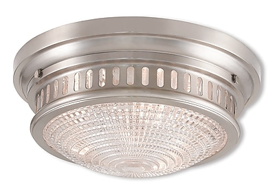 Livex Lighting 3-Light Brushed Nickel Mount with Hand Blown Clear Cut Glass (73053-91)