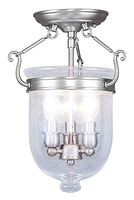 Livex Lighting 3-Light Brushed Nickel Flush Mount with Seeded Glass (5081-91)