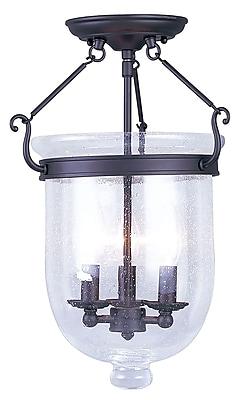 Livex Lighting 3-Light Bronze Flush Mount with Seeded Glass (5082-07)