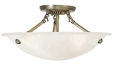 Livex Lighting 3-Light Antique Brass Flush Mount (4273-01)