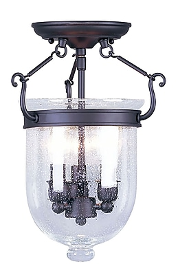 Livex Lighting 3-Light Bronze Flush Mount with Seeded Glass (5081-07)