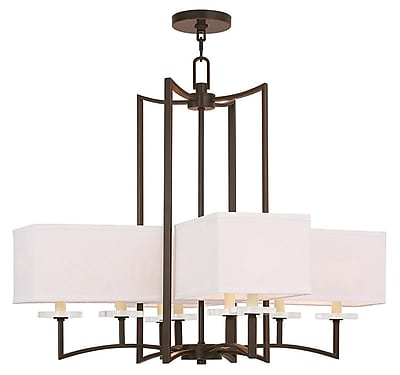 Livex Lighting 8-Light Olde Bronze Chandelier with Hand Crafted Off-White Fabric Hardback Shade (50708-67)