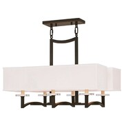 Livex Lighting 6-Light Olde Bronze Chandelier with Hand Crafted Off-White Fabric Hardback Shade (50706-67)