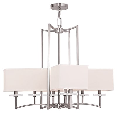 Livex Lighting 8-Light Brushed Nickel Chandelier with Hand Crafted Off-White Fabric Hardback Shade (50708-91)