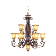 Livex Lighting 6-Light Verona Bronze Chandelier with Aged Gold Leaf Accents and Rustic Art Glass Shade (8579-63)