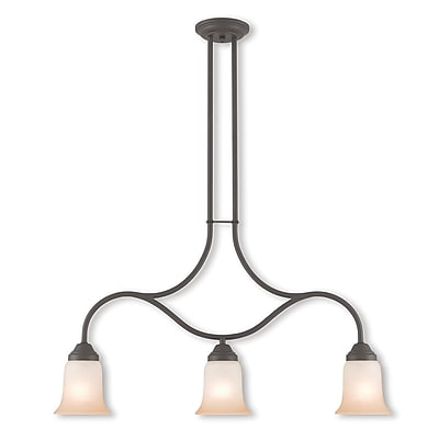 Livex Lighting 3-Light Bronze Linear Chandelier with Hand Applied Sunrise Marble Glass Shade (40704-07)