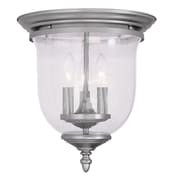 Livex Lighting 3-Light Brushed Nickel Mount with Hand Blown Clear Seeded Glass (5024-91)