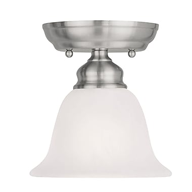 Livex Lighting 1-Light Brushed Nickel Mount with White Alabaster Glass (1350-91)