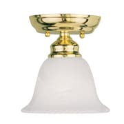 Livex Lighting 1-Light Polished Brass Mount with White Alabaster Glass (1350-02)
