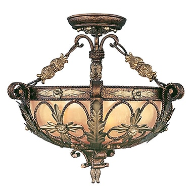 Livex Lighting 3-Light Palacial Bronze with Gilded Accents Semi-Flush Mount (8843-64)