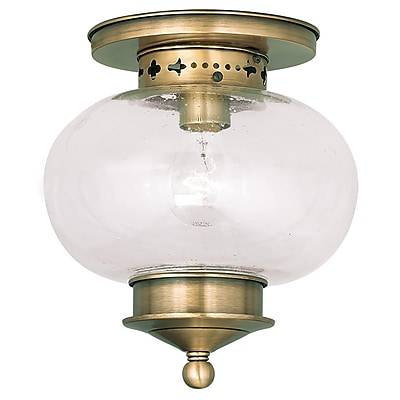 Livex Lighting 1-Light Antique Brass Flush Mount (5036-01)