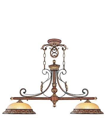 Livex Lighting 2-Light Verona Bronze with Aged Gold Leaf Accents Island Pendant (8582-63)