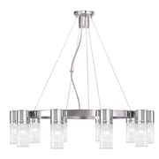 Livex Lighting 10-Light Chrome Chandelier with Hand Crafted Clear Fluted Glass Shade (50699-05)