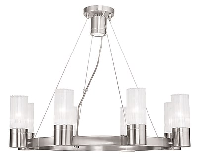 Livex Lighting 8-Light Brushed Nickel Chandelier with Hand Crafted Clear Fluted Glass Shade (50698-91)
