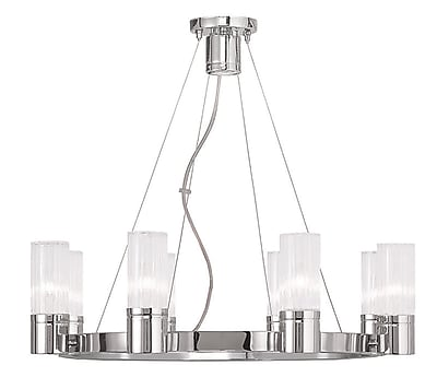 Livex Lighting 8-Light Chrome Chandelier with Hand Crafted Clear Fluted Glass Shade (50698-05)
