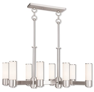 Livex Lighting 8-Light Brushed Nickel Linear Chandelier with Hand Blown Satin Opal White Glass Shade (52108-91)