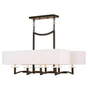 Livex Lighting 8-Light Olde Bronze Chandelier with Hand Crafted Off-White Fabric Hardback Shade (50709-67)