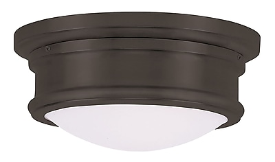 Livex Lighting 2-Light Bronze Mount with Hand Blown Satin White Glass (7341-07)