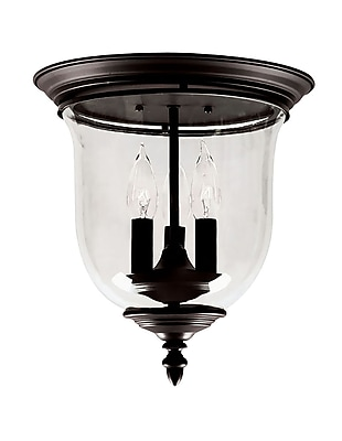 Livex Lighting 3-Light Bronze Flush Mount with Clear Glass Shade (5021-07)