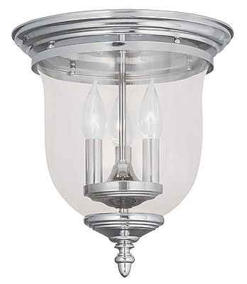 Livex Lighting 3-Light Polished Nickel Flush Mount with Clear Glass (5021-35)